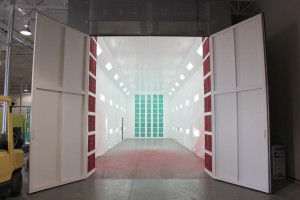 A 63' Paint booth at our location in Las Vegas