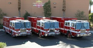 Three completely refurbished fire apparatus.